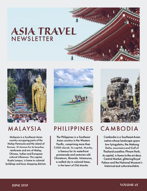 Asia Travel and Tourism Newsletter with Landmarks Newsletter