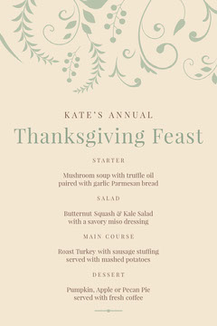 thanksgiving feast menu Thanksgiving Menu