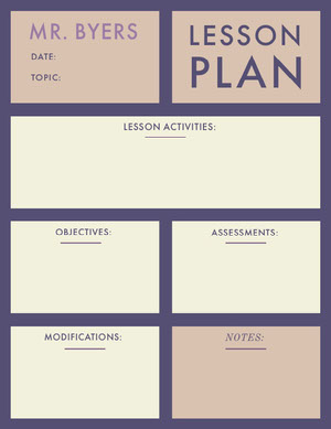 Violet and White Lesson Plan Horario de clase