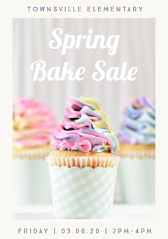 White and Pink Spring Bake Sale Flyer Sale Flyer