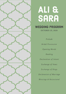 Grey and Green Wedding Ceremony Program Wedding Program