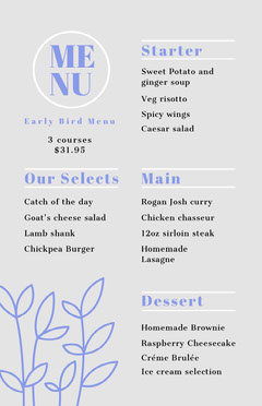 early bird menu  Cafe