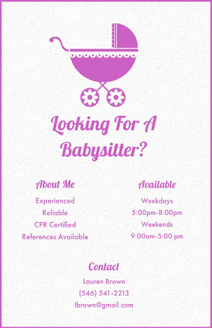 Looking For A Babysitter? Babysitting Flyer