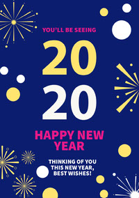 Blue, Pink, Yellow and White Happy New Year Card Happy New Year Quotes