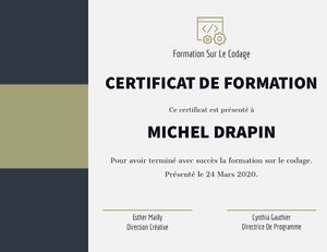 MICHEL DRAPIN Certificat
