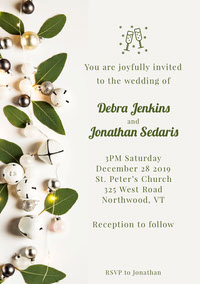 White and Green Christmas Bells Leaves Wedding Invitation Boda