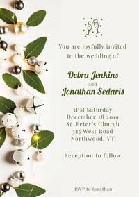 Christmas Bells Leaves Wedding Invitation Wedding