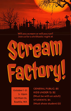 Red and Black Sceam Factory Poster Flyer Scary
