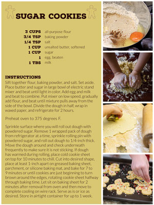 Yellow Sugar Cookie Recipe Card with Collage 조리법 카드