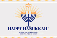 Blue and Yellow Hanukkah Wishes Card Hannukkah
