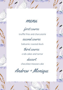 Violet and White Wedding Menu Menú de bodas