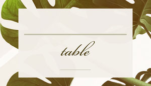 Green Wedding Table Place Card with Leaves Placas de identificação de mesa