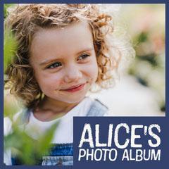 Blue Border Alice's Photo Album Square Cover Border