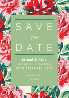 Green and Red Floral Save the Date Wedding Card Christmas Invitation
