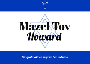 Blue White and Black Mazel Tov Howard Card Good Luck Card