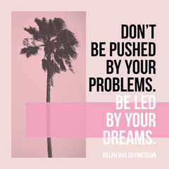 Pink Motivational Quote Square Instagram Graphic with Palm Tree Sunset