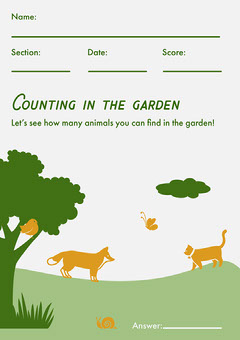 White & Green Counting Worksheet  Garden