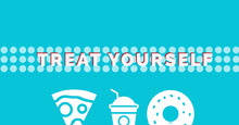 Blue and White Treat Yourself Banner Portada de Facebook