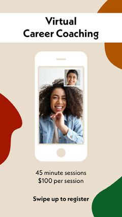 Beige Virtual Career Coaching Event Instagram Story with Smiling Women on Video Call Career Poster