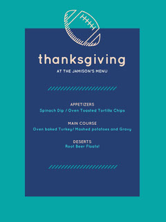 Blue and White Thanksgiving Menu Flyer Sports