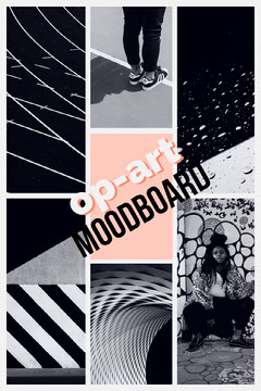 Black and White and Pink Op Art Moodboard Art