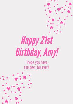 White and Pink Birthday Wishes Card  Stars
