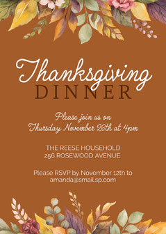 Brown & Autumn Leaves Dinner Invitation 5x7 Card  Thanksgiving