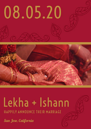 Red and Gold Indian Wedding Announcement Card with Photo Anúncio de casamento