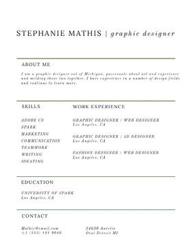 STEPHANIE MATHIS | graphic designer Currículo