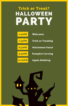 Green Haunted House Halloween Party Schedule Halloween Party Schedule