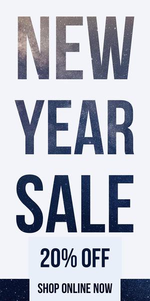 New Year Sale Stars Web Ad Volantino pubblicitario