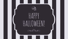 Black and White Stripes and Skull Halloween Party Gift Tag Halloween Gift Tag