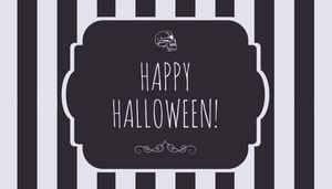 Black and White Stripes and Skull Halloween Party Gift Tag Geschenkanhänger