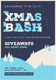 Blue and White, Christmas Giveaways Bash Party Ad, Poster Christmas Party