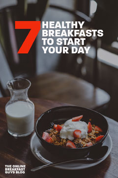 Healthy Breakfast Recipes Pinterest Graphic with Granola Photo Breakfast