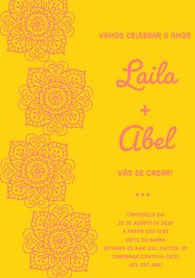 yellow and pink henna flowers wedding cards  Cartão de felicitações aos noivos