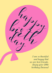 Yellow and Pink Happy Birthday Card Verjaardagskaart