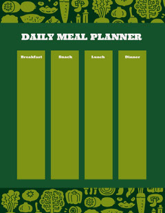 Green and White Empty Daily Planner Card Breakfast