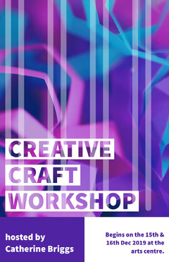 Violet and White Creative Craft Workshop Poster Neon