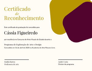 Certificado <BR>Reconhecimento  Cartão de graduação