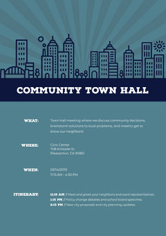 Blue Illustrated Town Hall Meeting Announcement Flyer Meeting Flyer