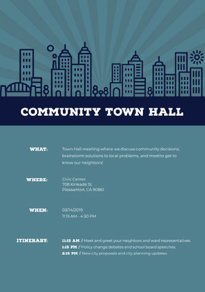 Blue Illustrated Town Hall Meeting Announcement Flyer Roteiro de viagem