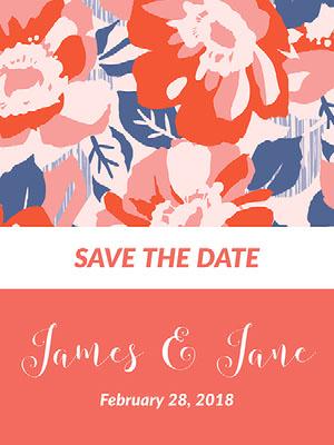 Pink, Red, White and Blue Wedding Announcement 結婚通知