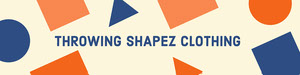White Orange and Blue Throwing Shapez Clothing Banner de Etsy