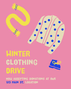 Pink Yellow and Blue Winter Clothing Drive Event Poster Donations Flyer