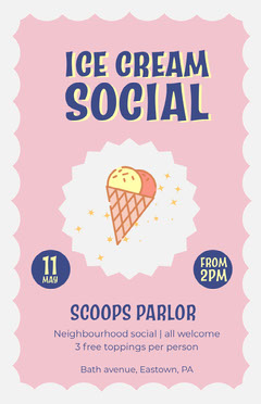 Pink and Blue Ice Cream Social Poster Ice Cream Social Flyer