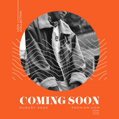 Orange Texture Fashion Coming Soon Instagram Square New Collection