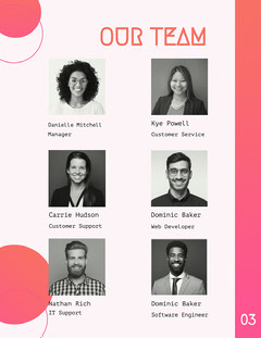 Pink Gradient Abstract White Paper Team Introduction Page Teams