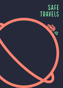 Navy, Blue and Pink Safe Travel Card Farewell