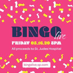 Pink Confetti Bingo Live Fundraiser Instagram Square  Fundraiser